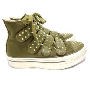 Converse All Star RARE Olive Studded High Tops